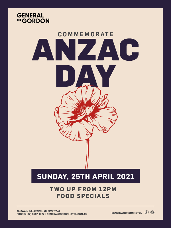 ANZAC Day 2 Up & Food Special - General Gordon Hotel