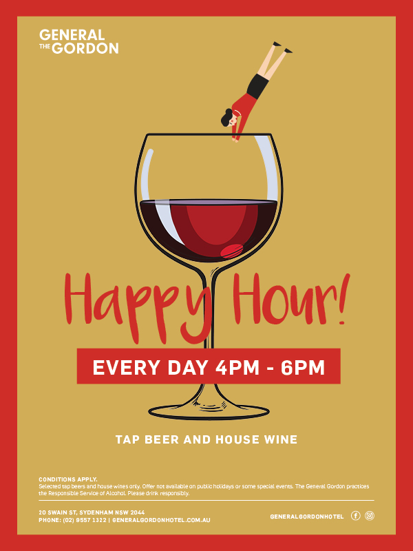 Daily Happy Hour Special - General Gordon Hotel