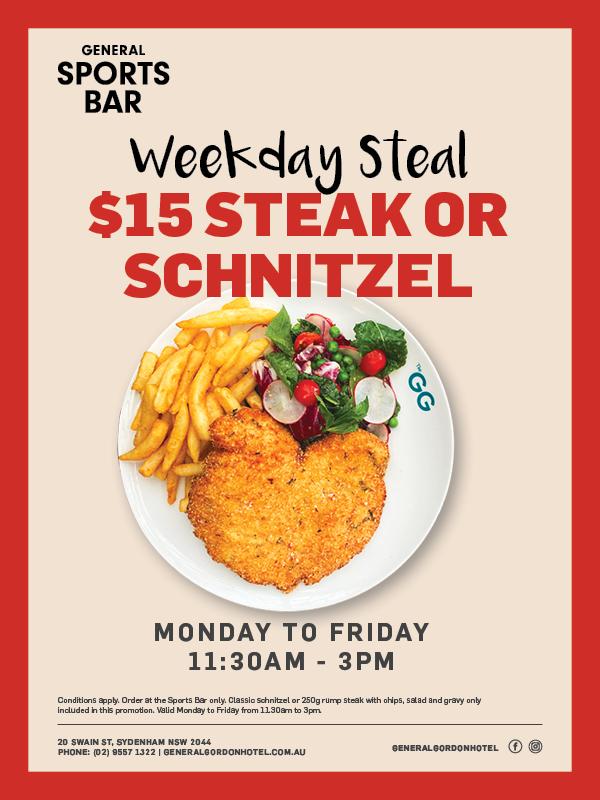 Weekday Steak & Schnitzel Special - General Gordon Hotel